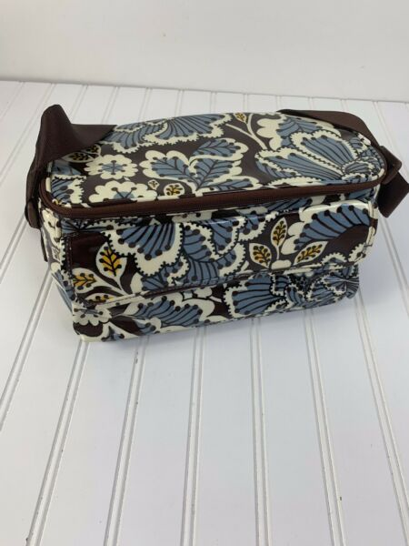 Vera Bradley Womens Lunch Pail Brown Ivory Floral Coated Canvas Insulated
