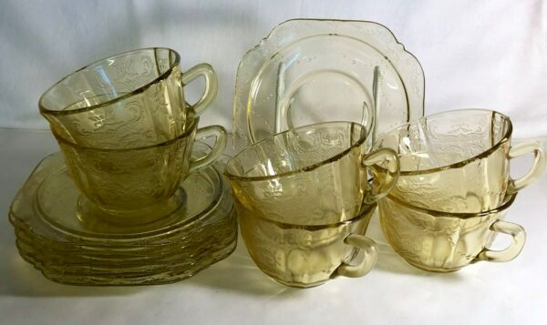 6 Federal Amber Madrid Cups And Saucers