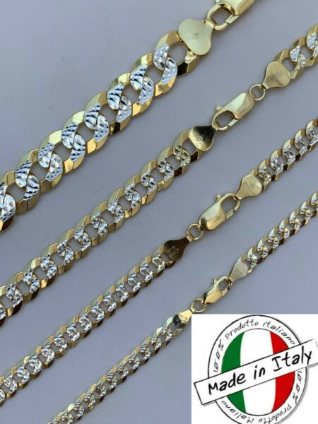 Cuban Link Chain 14k Gold amp; Solid 925 Silver Two Tone Diamond Cut ITALY 5 11mm