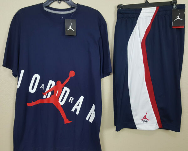 NIKE JORDAN JUMPMAN FLIGHT OUTFIT SHIRT + SHORTS NAVY BLUE RED RARE (LARGE / XL)