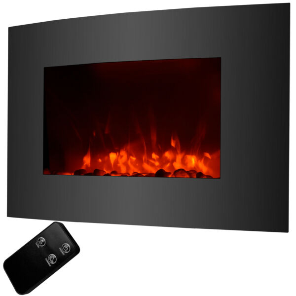 Insert Wall Mount Free Standing Electric Fireplace Heater Cobblestone Fire
