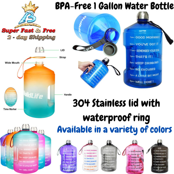 Motivational Fitness Workout Large Water Bottle With Time Marker Goal BPA Free