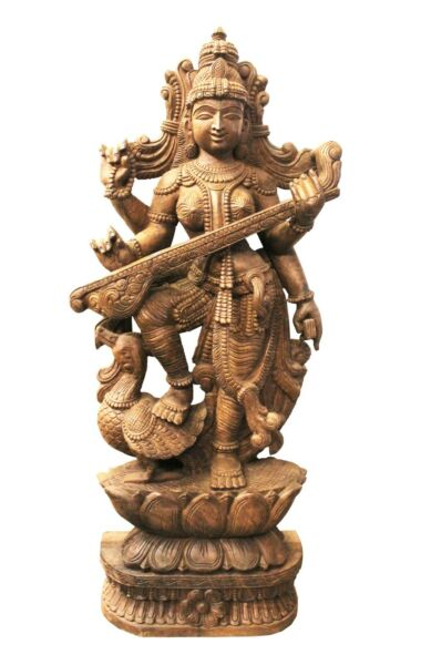 Goddess Saraswati Statue Handmade Carved Wooden Decorative Sculpture Idol