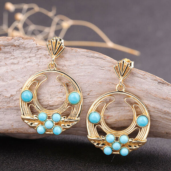 F03 Earring Silver 925 Gold Plated Circle with Leaves and Small Turquoise