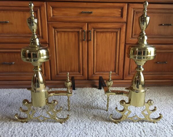 PAIR OF EXQUISITE ANTIQUE BRASS GEORGIAN ERA ANDIRONS  --  BEAUTIFUL FINISH!