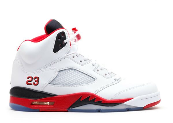 New Nike Air Jordan 5 Retro SZ 13 WHITE FIRE RED BLACK WOLF GREY 136027-120 NIB