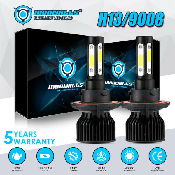 H13 LED Headlight Bulbs for Dodge Ram 1500 2500 3500 2006-2012 2008 Hi-Lo Beam
