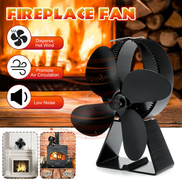 8.2'' 1500RPM Fireplace Thermal Fire Heater Power Wood Stove Fan Safe Household