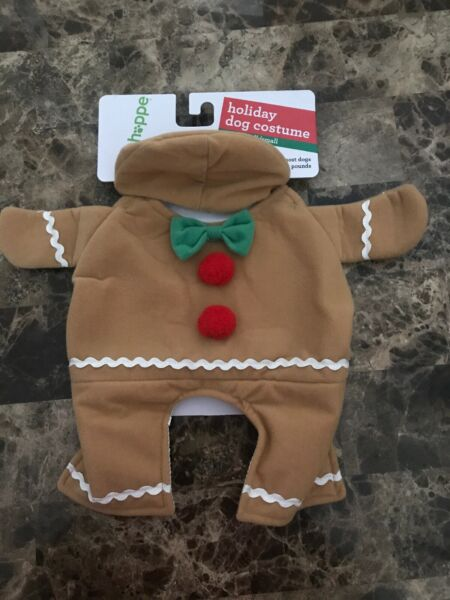 Cute Gingerbread Coat w Hat for Dog Size XS S Brown Red Green NEW $4.99