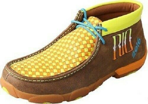 Twisted X Mens MDM0043 Leather Neon Yellow Orange RIO Driving Moccasin 10.5 US