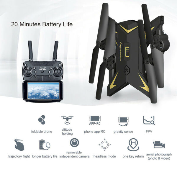 KY601S Foldable Drone Camera 1080P Wifi FPV Altitude Hold RC Quadcopter NEW P2D1