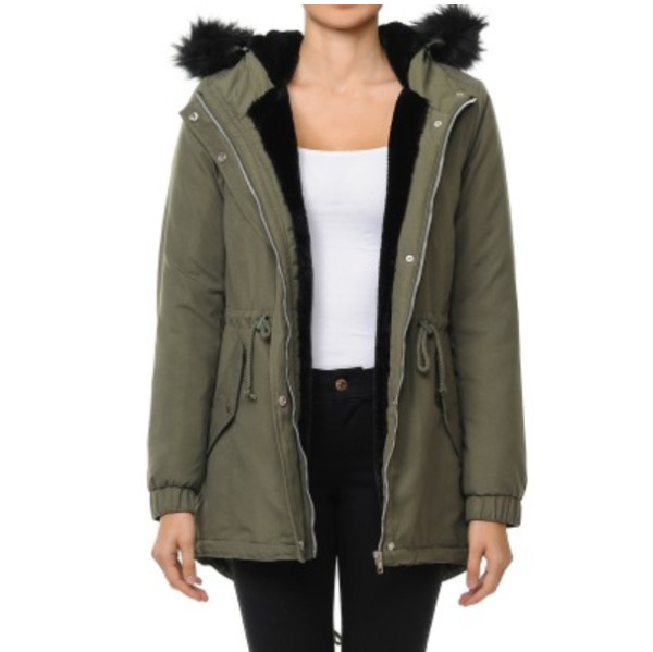Women Winter Parka Military Coat Long Warm Faux Fur Trench Hooded Jacket S 3lx
