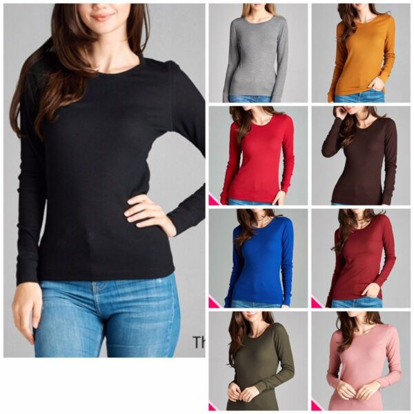Women Thermal Crew Neck Long Sleeve Basic Top T Shirt Solid Plain Waffle S 3XL $6.99