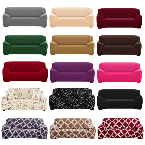 1 2 3 4 Seat Stretch Spandex Chair Sofa Couch Cover Elastic Slipcover Protector $27.99