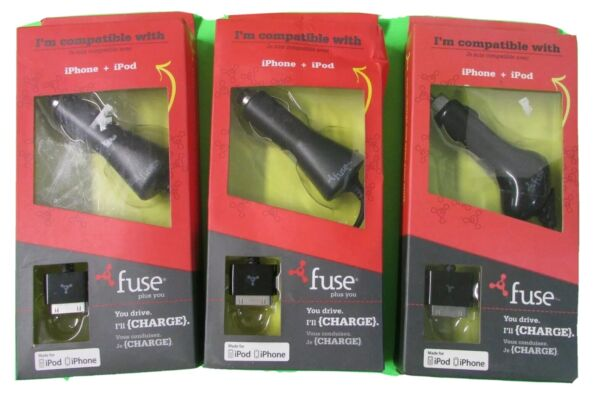 Lot of 3 AUTO CHARGER FITS iPhone iPod Auto Travel Charger Universal OLD SCHOOL $12.75