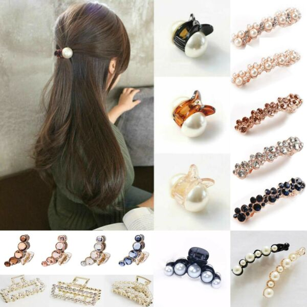 Women Pearl Mini Hair Accessories Hair Claw Barrettes Crystal Hair Jaw Clips