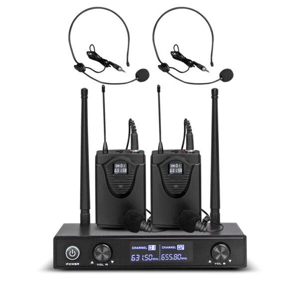 Pro Audio UHF Wireless Microphone System 2 Channel 2 Lavaliers Lapels Headsets