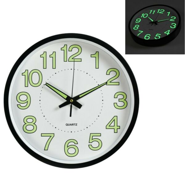 12'' Modern Luminous Large Quartz Wall Clock Glow In The Dark Bedroom Office