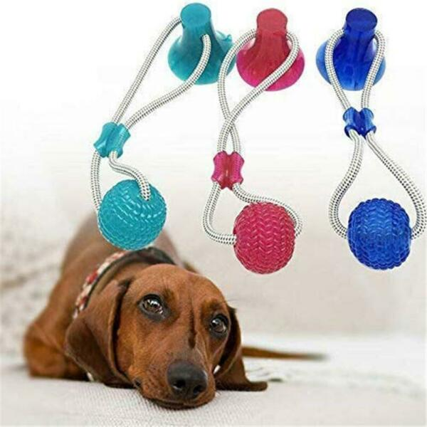 Pet Self Playing Rubber Ball Toy with Suction Cup Dog Interactive Molar Chew Toy