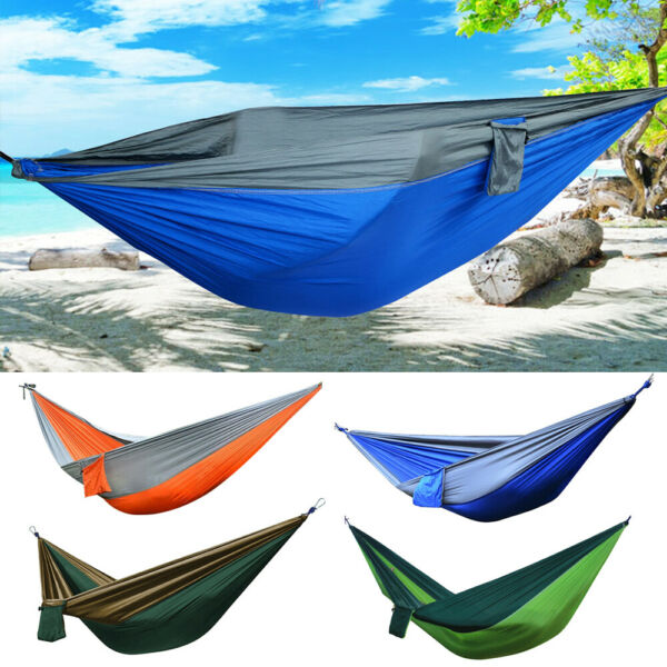 Portable Double Person Camping Hammock Nylon Travel Outdoor Sleeping Swing Bed $14.20