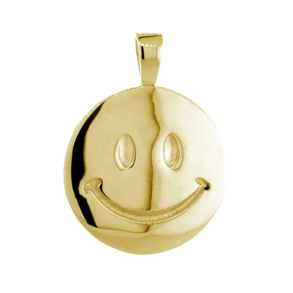 24mm Double Sided Happy Smiley Face Charm in 14k Yellow Gold
