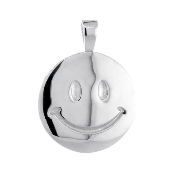 24mm Double Sided Happy Smiley Face Charm in 14k White Gold