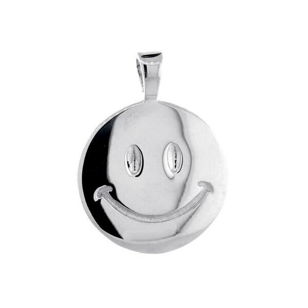 19mm Double Sided Happy Smiley Face Charm in 18k White Gold