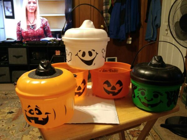 1986 Lot Of 5 McDonald Happy Meal Halloween Trick Or Treat Candy Bucket Pail