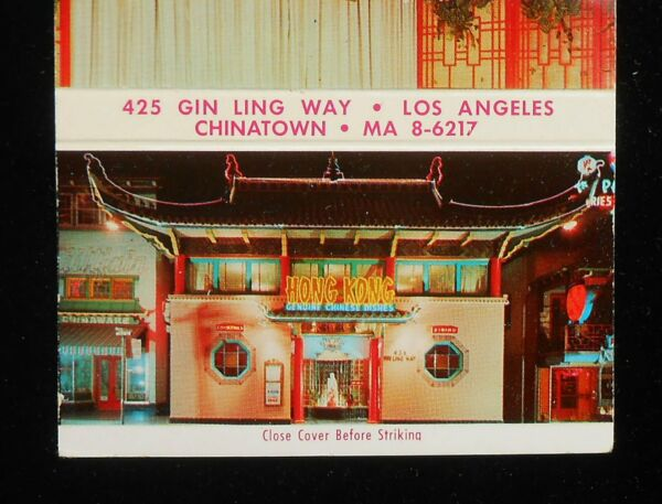 1950s Hong Kong Low Restaurant Chinese Chinatown Photos Los Angeles CA Matchbook