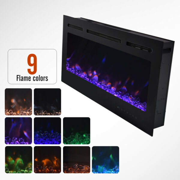 Wall Mounted Electric Fire Fireplace Recessed 40