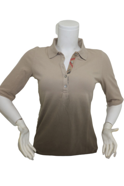 New Authentic Burberry Women#x27;s Nova Check Half Sleeve Beige Polo Shirt $84.90