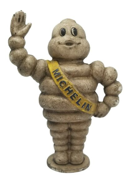Michelin Man Bank 8quot; Heavy Cast Iron With Painted Antique Finish