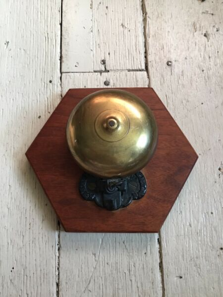"""Antique 5"""" Brass Boxing Style Bell Wrought Iron Base On Wood """"ABBES"""" ? Patent"""