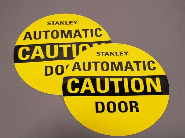 2 X CAUTION Automatic Door  Glass Sticker Decal Label Double Sided 6 12