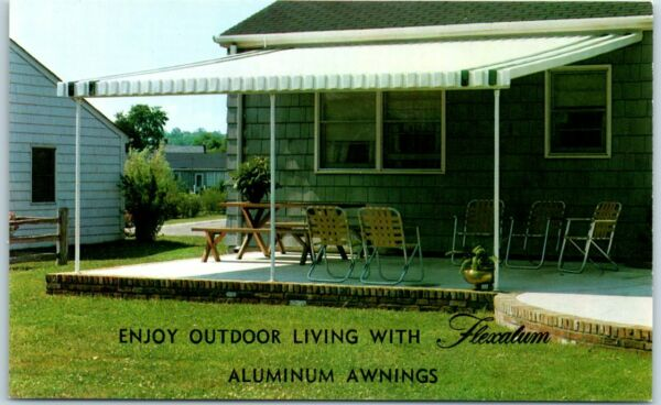 Chrome Advertising Postcard FLEXALUM Aluminum Awnings quot;Enjoy Outdoor Livingquot;