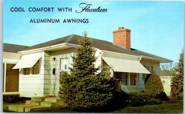 Chrome Advertising Postcard FLEXALUM Aluminum Awnings quot;Make your Home Coolerquot;