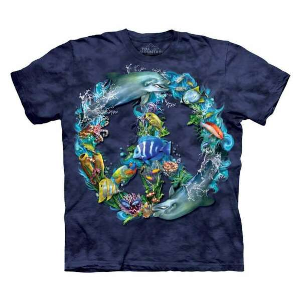 The Mountain Kids Underwater Peace Blue Cotton T Shirt Tee S amp; XL USA Made NWT $10.99