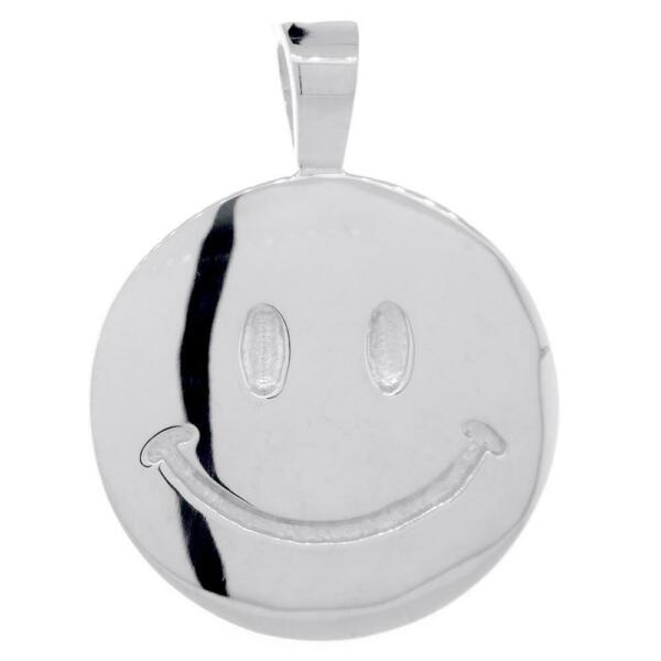 Double Sided Extra Large Happy Smiley Face Charm 28mm in 14K White Gold