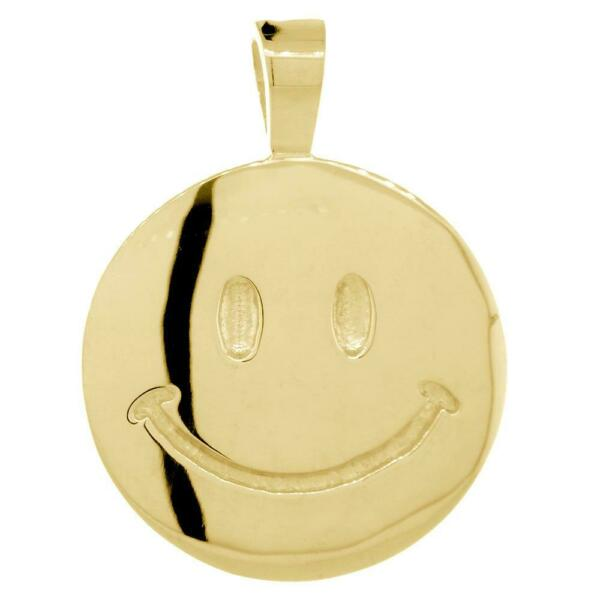 Double Sided Extra Large Happy Smiley Face Charm 28mm in 14K Yellow Gold