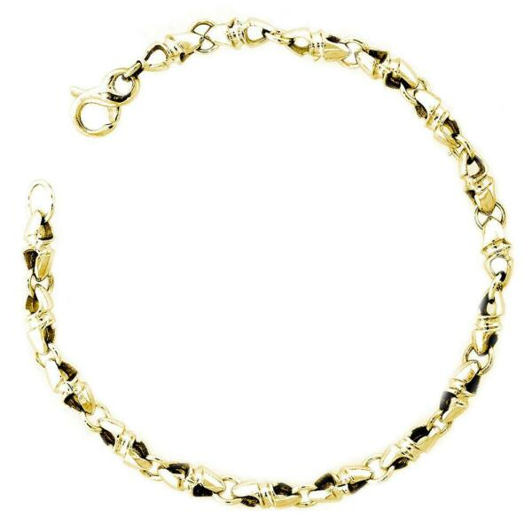 Mens or Ladies Small Size Twisted Bullet Style Link Bracelet in 14k Yellow Gold
