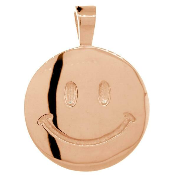 Double Sided Extra Large Happy Smiley Face Charm 28mm in 14K Pink Rose Gold