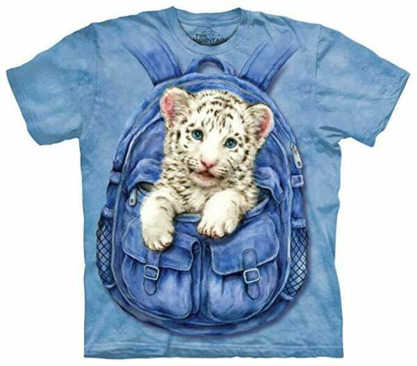 The Mountain Kids Backpack White Tiger Blue Cotton T Shirt Youth Sizes L XL NWT $10.99