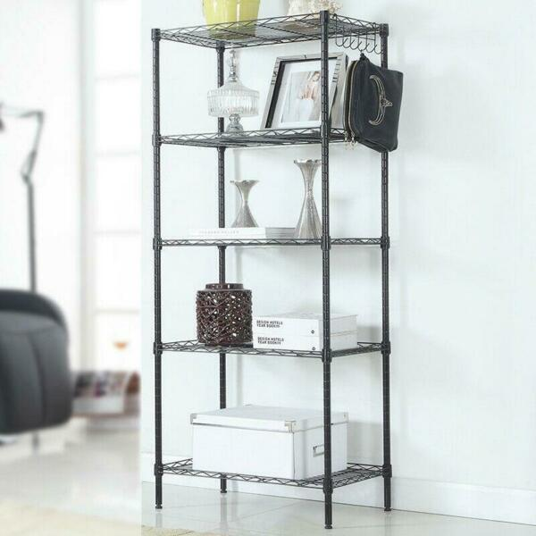 5-Tier Layer Shelf Wire Metal Shelving Rack Heavy Duty Shelf Storage Holder US