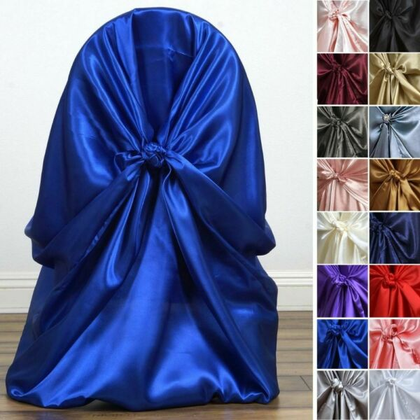 50 Satin UNIVERSAL CHAIR COVERS SLIPCOVERS Wedding Party for all Chairs Decor
