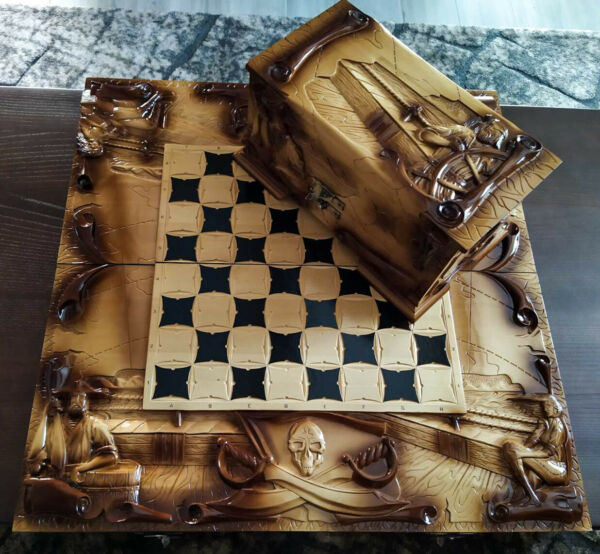 Big Chess Set Chess Checkers Backgammon game board set Handmade Wooden Carved