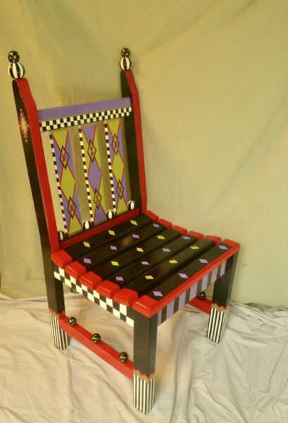 Hand painted wooden chair. Artist created Inspired by MacKenzie-Childs