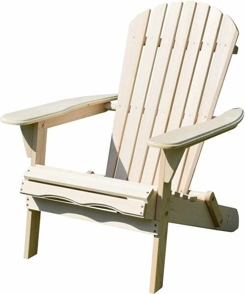 Merry Garden Foldable Wooden Adirondack Chair, Natural NEW