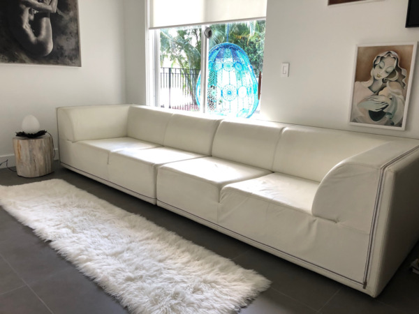 GAMMA ARRENDAMENTI Contemporary Zipper Sofa Sectional in White Leather $2800.00