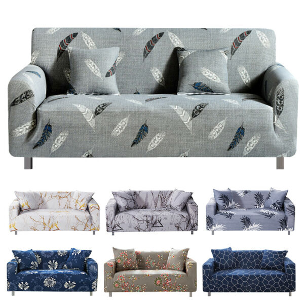 1 2 3 4 Seater Stretch Sofa Covers Chair Couch Cover Elastic Slipcover Protector $24.90