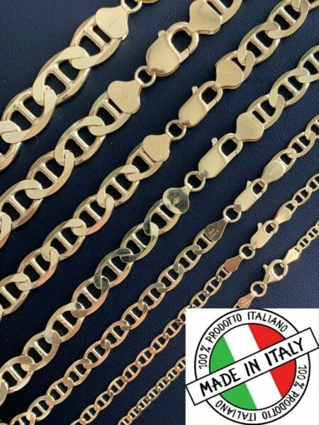 14k Gold Over Solid 925 Sterling Silver Mariner Chain Necklace Or Bracelet ITALY